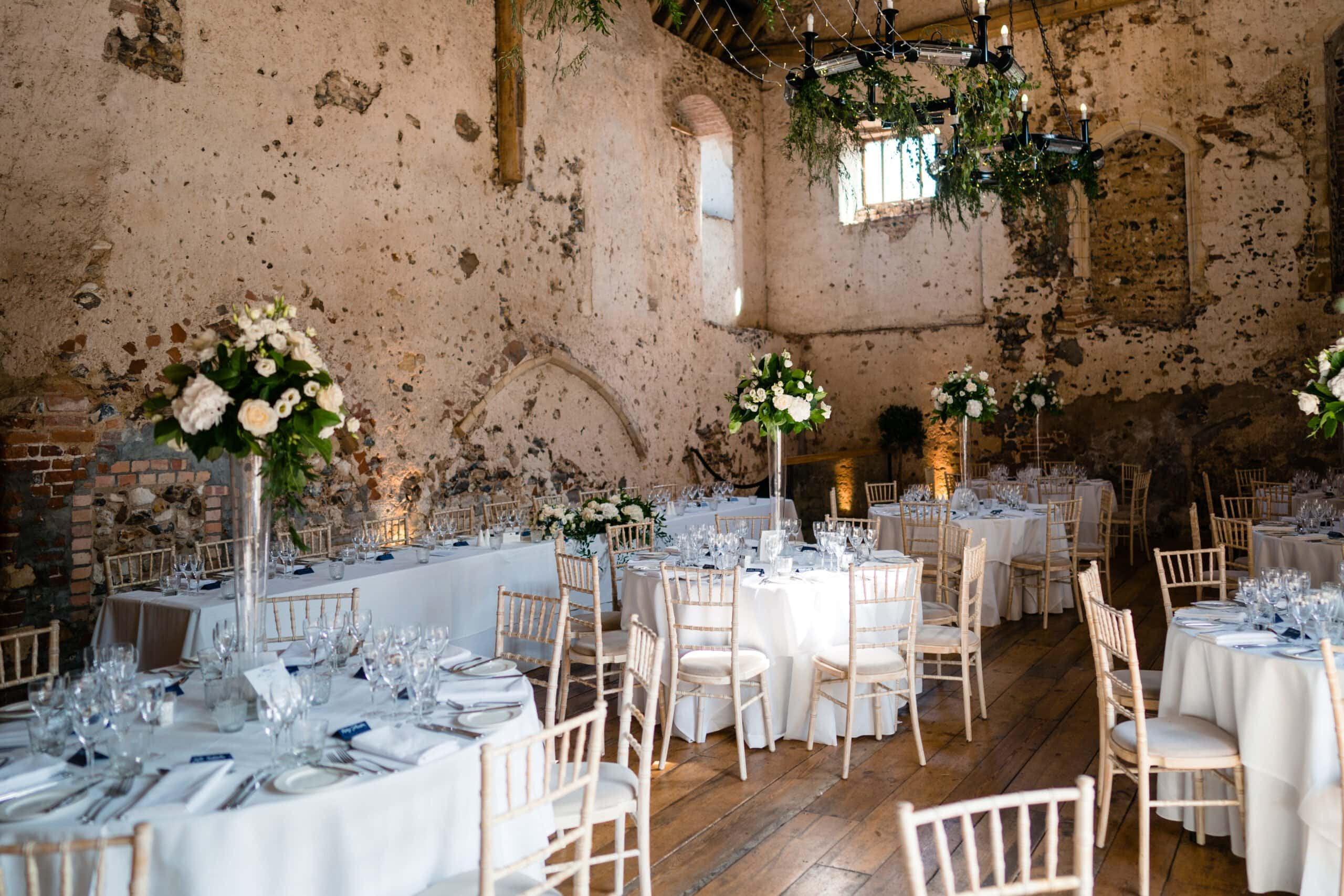 elegant wedding decorations at Langley Abbey wedding norfolk