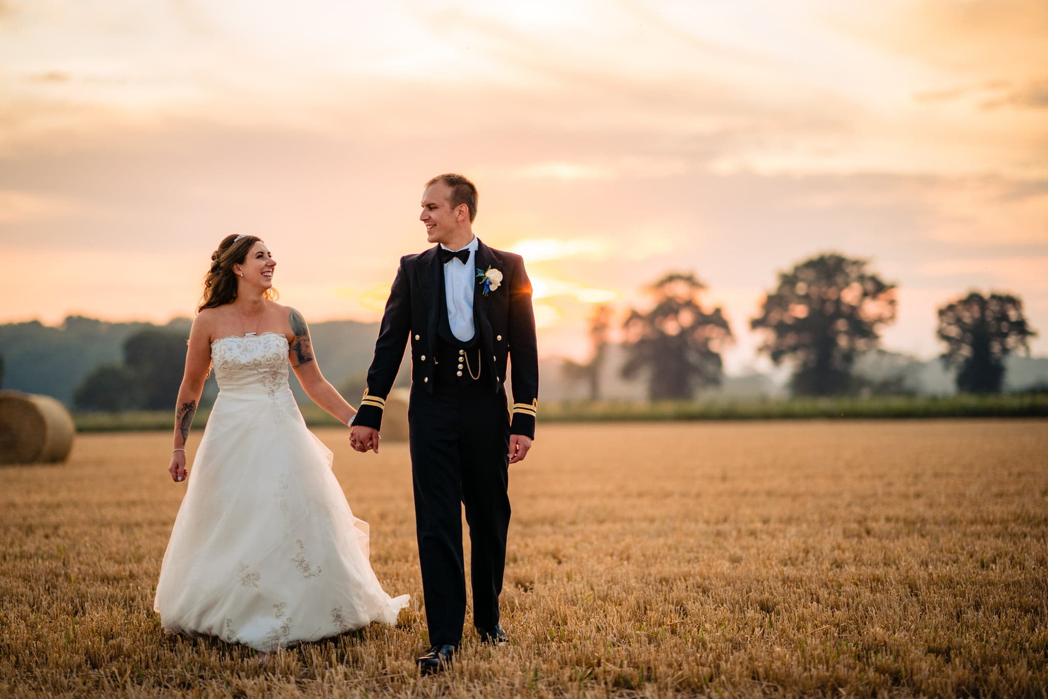 Bride and military groom in langley abbey wedding venue