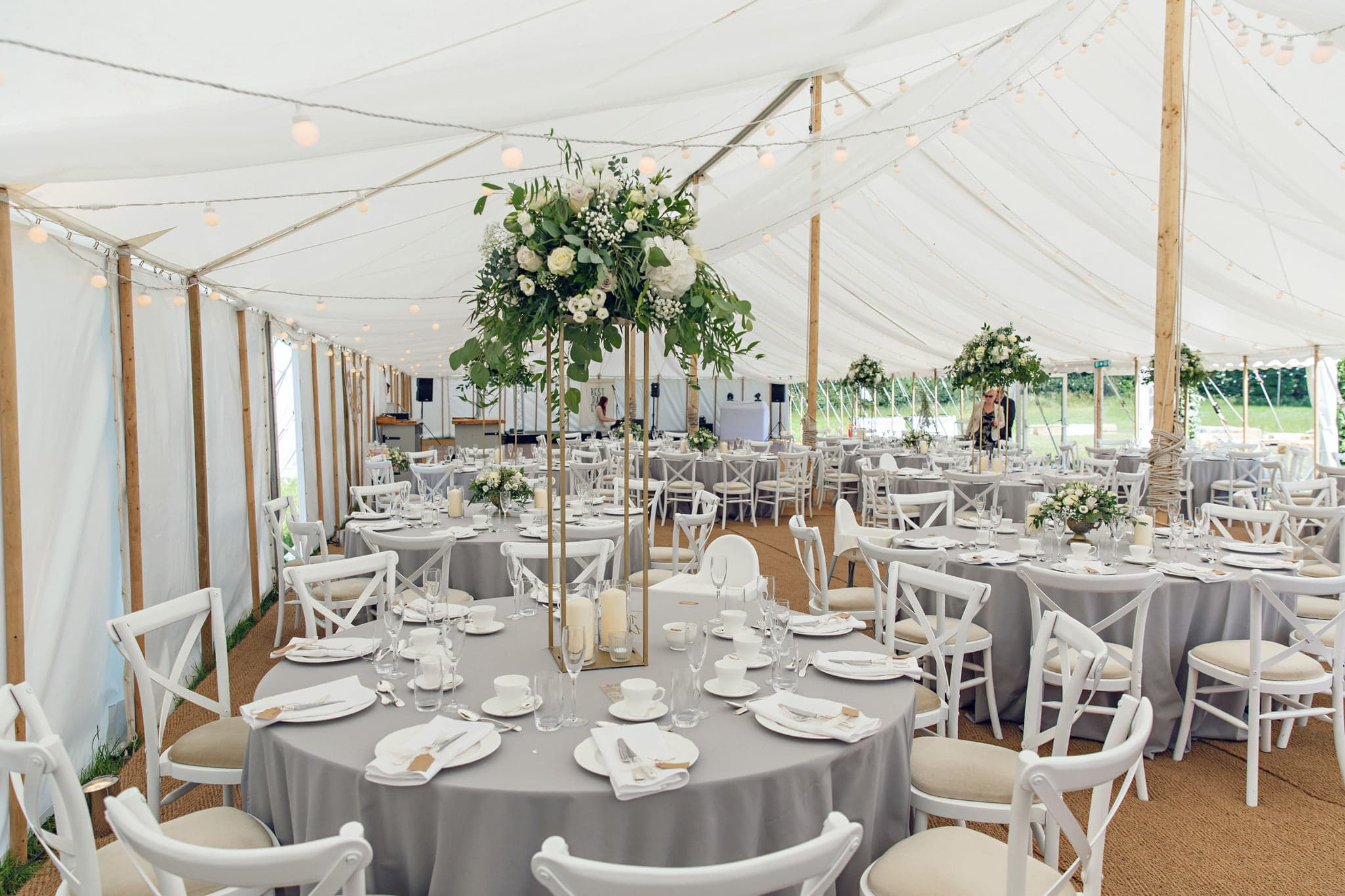 norfolk marquee wedding decorations with copper stands