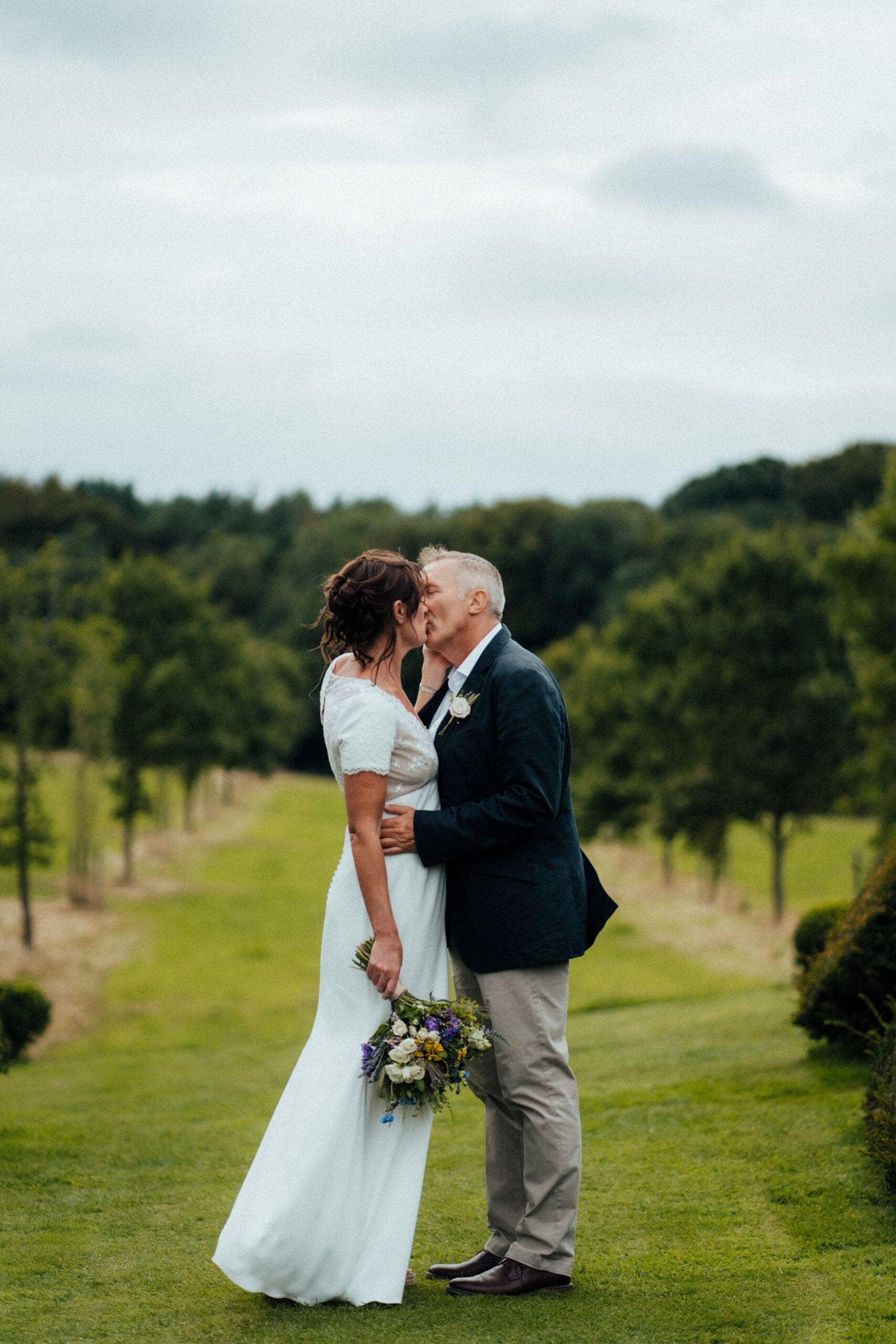 bride and groom at Chaucer Barn wedding