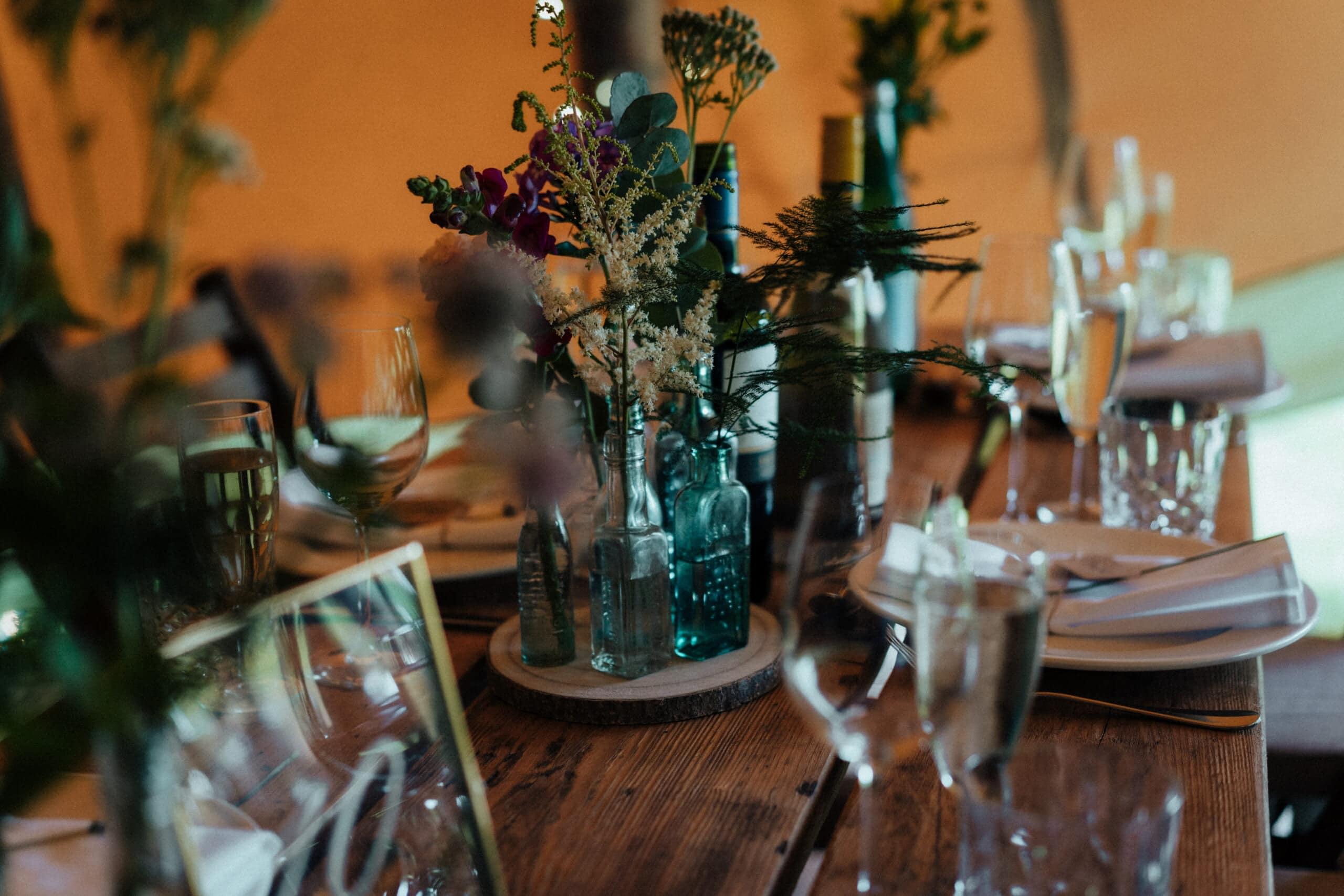 vintage wildflower wedding table centrepieces