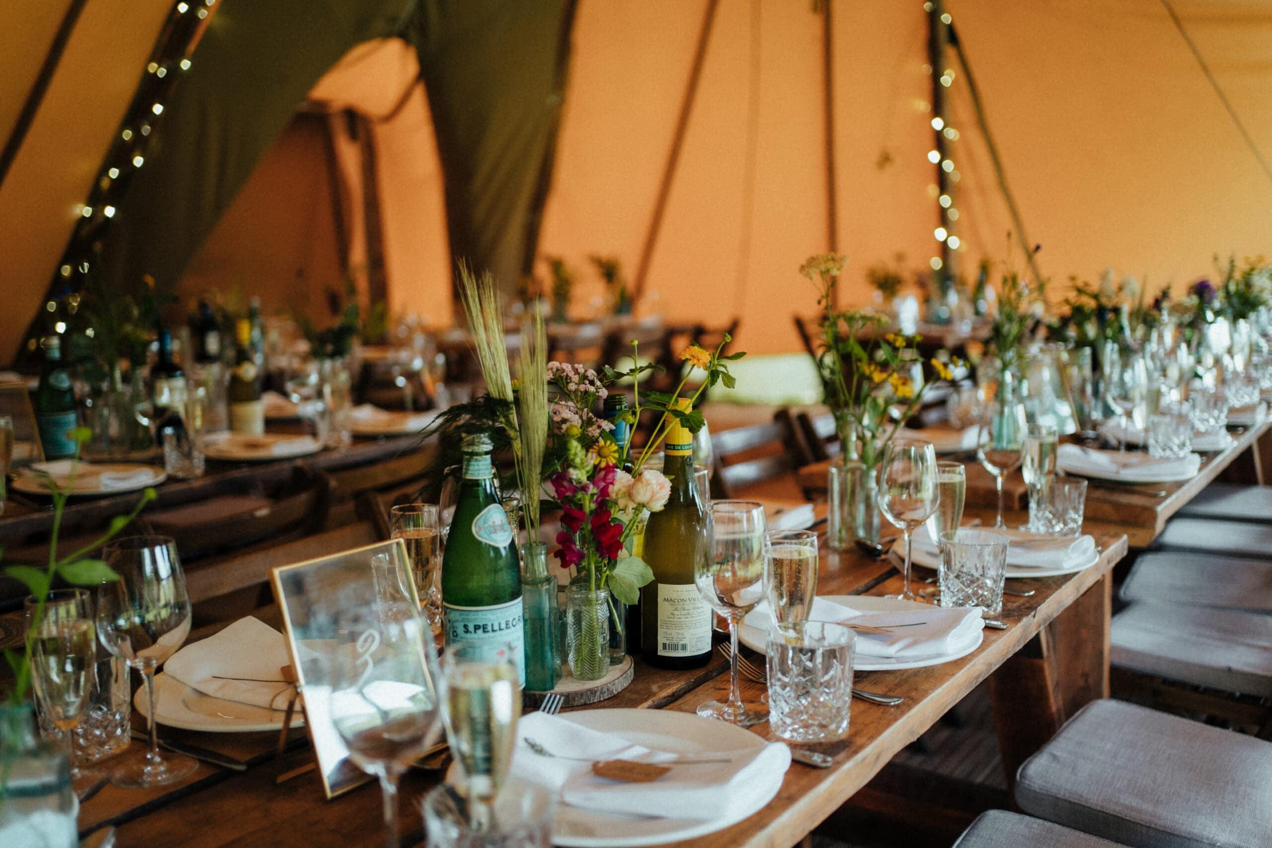 rustic tipi wedding table setup