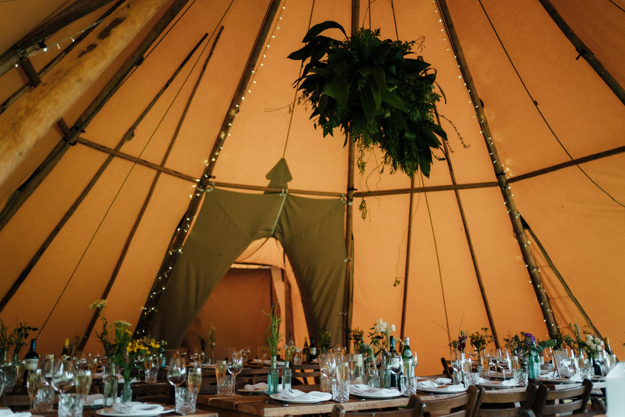Tipi wedding decorations at Chaucer Barn in Norfolk