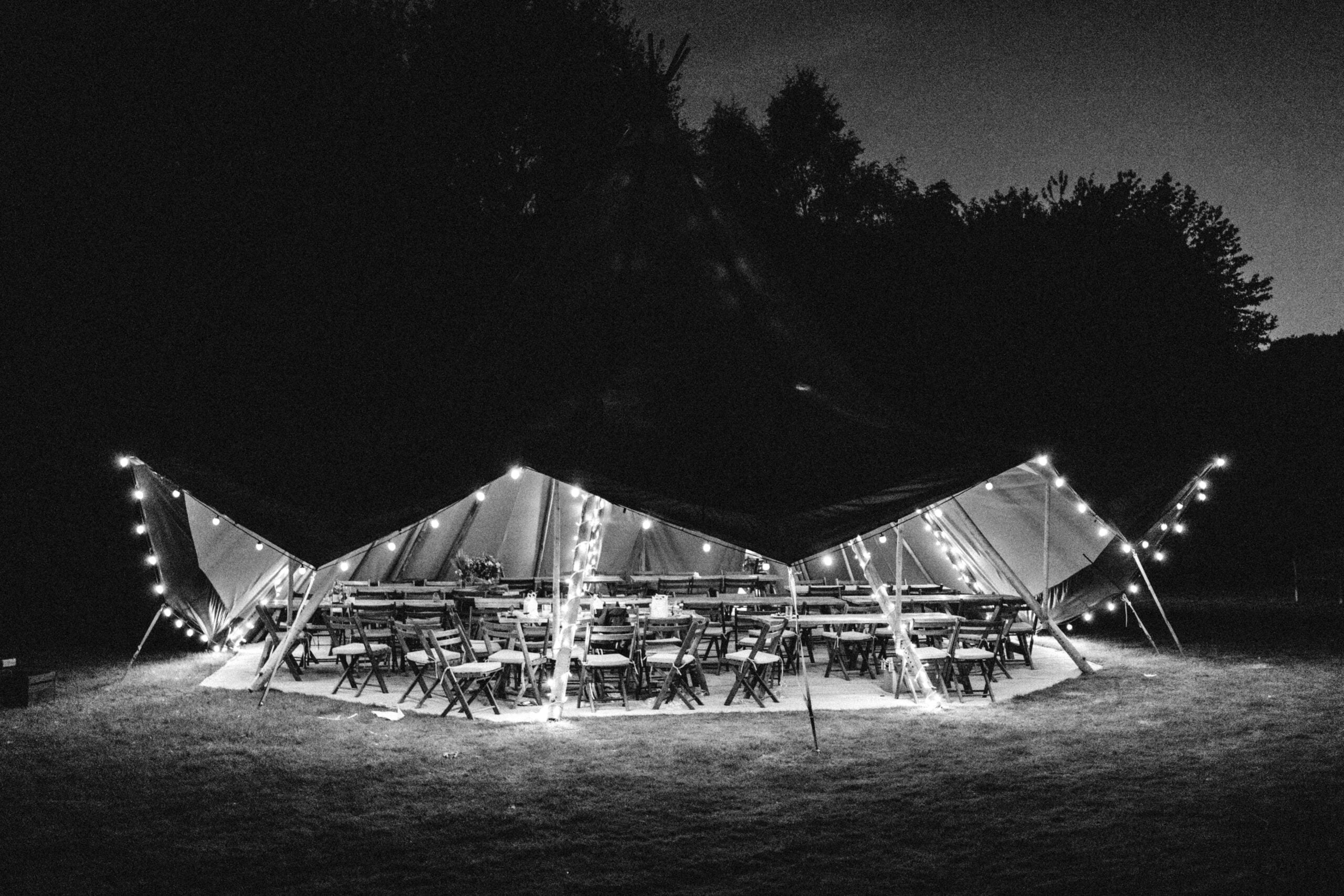 tipi lighting at night at norfolk wedding