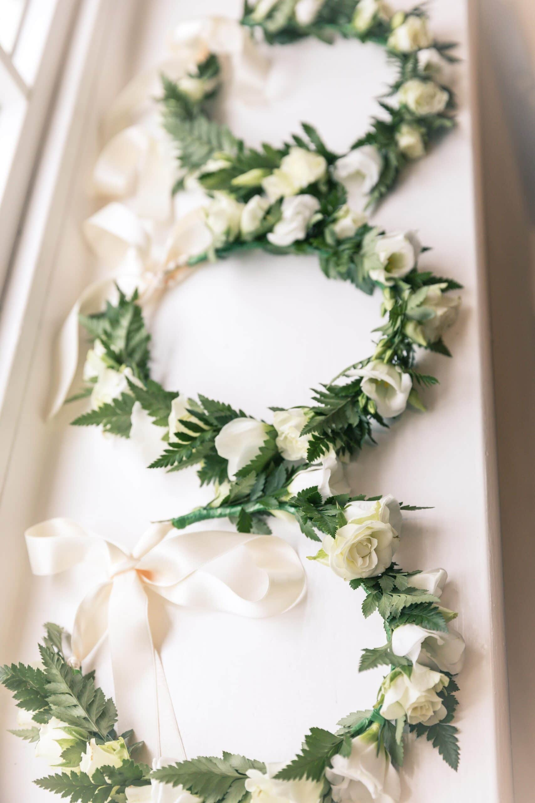 green and white flower crowns at Sudeley Castle wedding