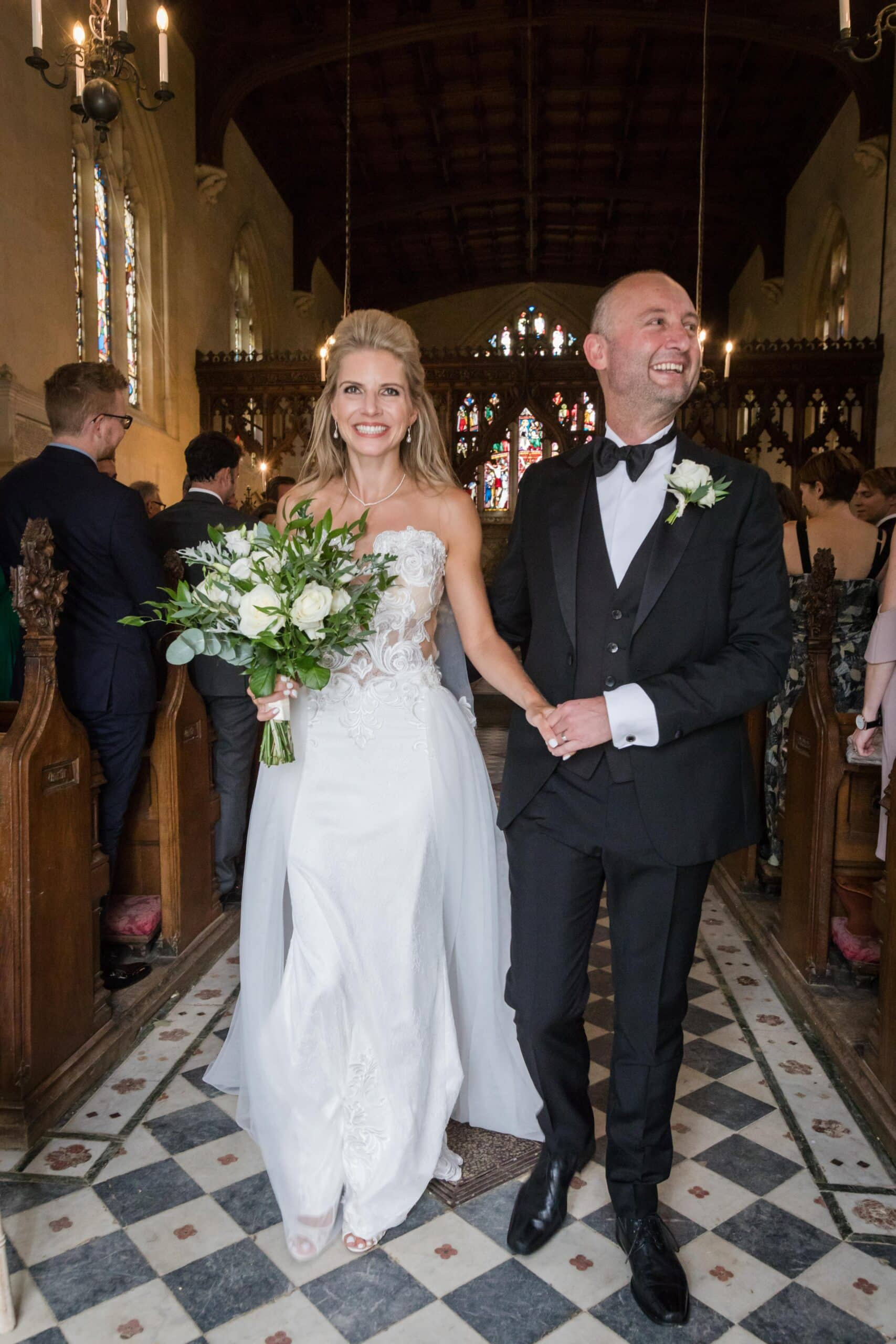 just married photo of bride and groom at sudeley castle wedding