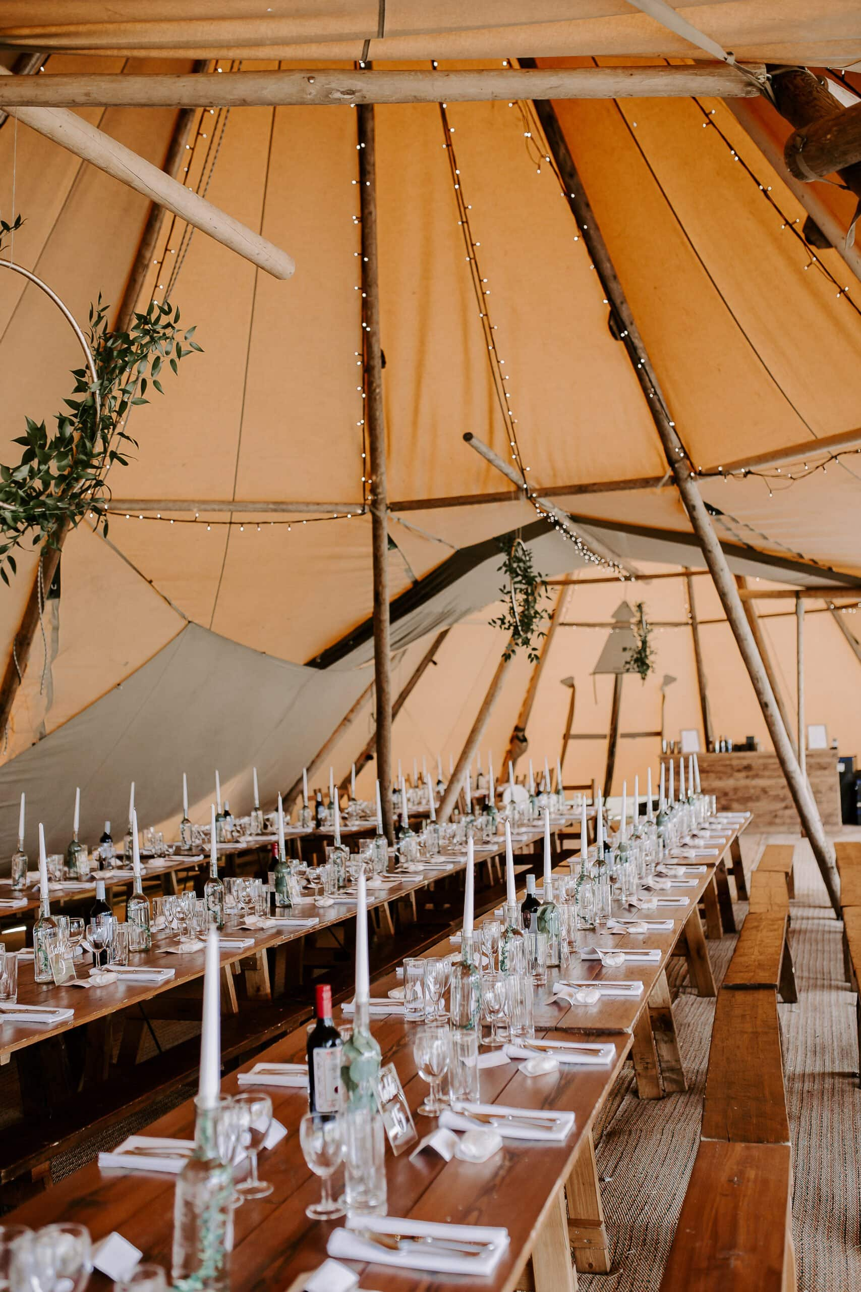 tipi wedding decorations with eucalyptus at glevering estate