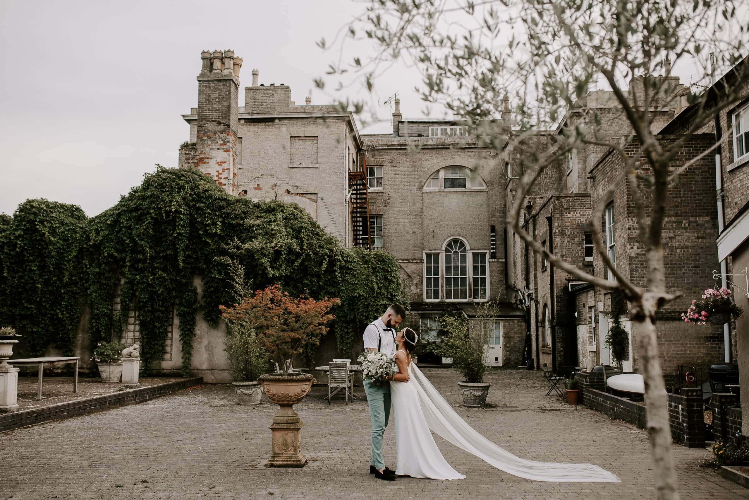 bride and groom at glevering estate wedding