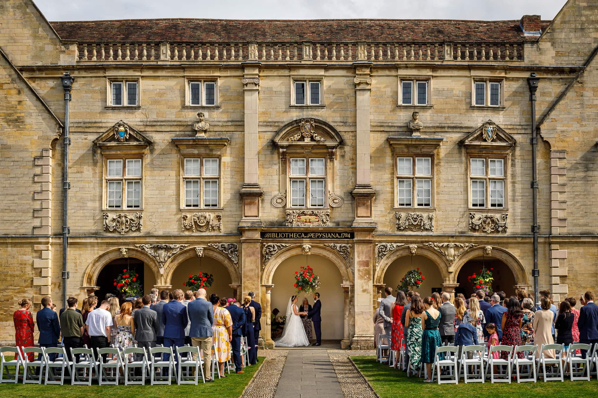 Bride and Groom getting married at Magdalene College Cambridge