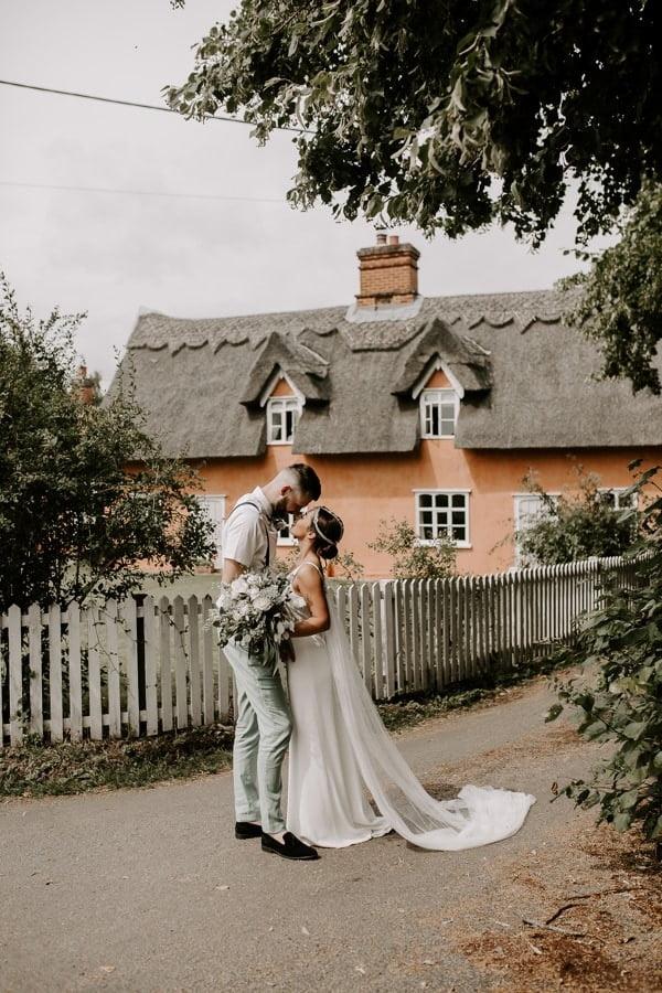 bride and groom at norfolk wedding at west lexham